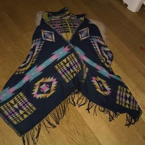 Jackets & Blazers - colorful women -poncho with hoodie